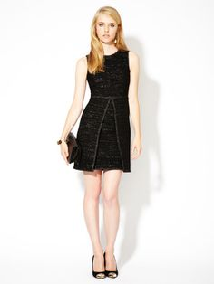 Madison Avenue Couture Black Metallic Inverted Pleat Dress