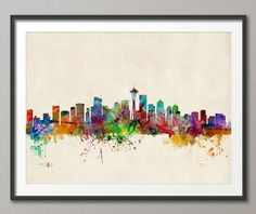 Seattle Skyline Art Print  12x16 up to 24x36 inch 531 by artPause, £12.99
