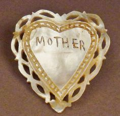 MOTHER Vintage VALENTINE MOTHER of Pearl Brooch Pin  Carved Incized  app . 1.5 x 1 on Etsy, $36.99