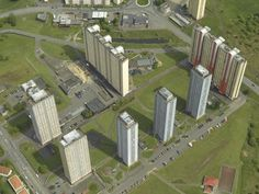 Aerial Red Road flats, Glasgow