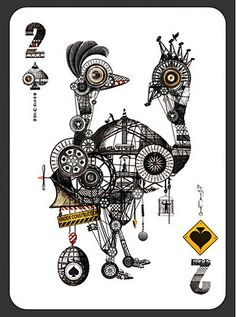 52 Aces card deck, from zeixs publishing. Illustration: Diego Mazzeo (two of spades)/ Unique Playing Cards, Custom Playing Cards, Custom Cards, Ace Card, Play Your Cards Right, Deck Of Cards, Card Deck, Tarot Decks, Tarot Readers