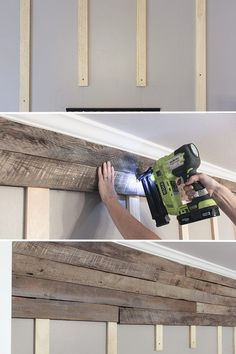 How to build a pallet accent wall in an afternoon. Includes tips on safe pallets… How to build a pallet accent wall in an afternoon. Includes tips on safe pallets to use, and building wire pathways for mounting a TV. Pallet Accent Wall, Pallet Walls, Pallet Wall Bathroom, Diy Pallet Wall, Wood Accent Walls, Wooden Wall Bedroom, Pallet Fireplace, Bathroom Accent Wall, Pallet Couch