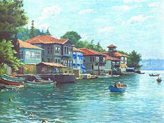 Ressam Ahmet Yakupoğlu Beautiful Paintings Of Nature, Nature Paintings, Beautiful Landscapes, Istanbul, Oil Painting Pictures, Art Pictures, Landscape Art, Landscape Paintings, Turkish Art