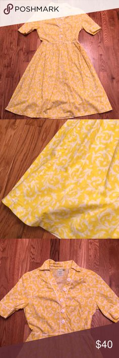 """ModCloth Shanby Apple Dress Mod Cloth Shabby Apple yellow and white 50's housewife dress. Vintage style, very unique 😄 Adorable buttons & 3/4 length sleeves. Very flattering dress! Excellent condition, zero flaws! Size XS. Measurements: Length 41"""" and Waist 12"""" - 13"""" Modcloth Dresses Midi"""