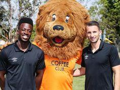 (l-r) Kofi Danning, Roary and Liam Miller at the Brisbane Roar season launch.