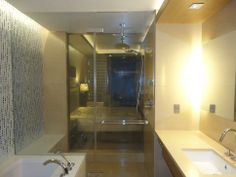 DreamGlass® Privacy Glass, also known as Smart Glass / Switchable Glass / Intelligent Glass was installed within each room at Baku Flame Towers, Azerbaijan, separating the bathroom from bedroom with a wall switch.