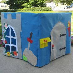 @Susanne DeJong-a combo gift for the boys? Mine wouldn't be quite so detailed...and could do a different theme. What do you think? Card Table Playhouse