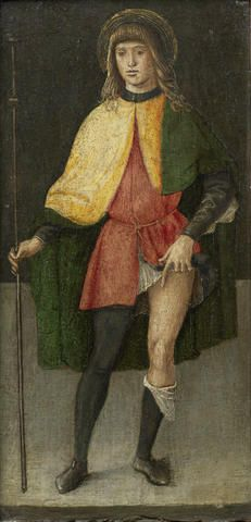 Lazzaro di Jacopo Bastiani (Venice 1425-1512) Saint Liberale Oil on panel 31.5 x 17cm (12 3/8 x 6 11/16in).   Bastiani was first recorded in 1449, as a painter in Venice and in 1460 he was paid for an altarpiece in the Church of San Samuele there. The influence of Andrea del Castagno and of Bartolomeo Vivarini is evident in his works of this period, before he went on to explore perspective following his experience of Gentile Bellini in the 1480s