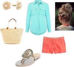 Simple Sorority Summer #preppy #pearls #oversizedbag