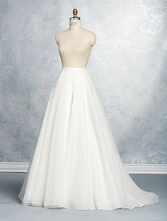 A full-length, A-line wedding dress skirt with a satin-banded natural waist and chapel train.