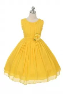 Yellow Ruched Chiffon Flower Girl Dress girlsdressline.com
