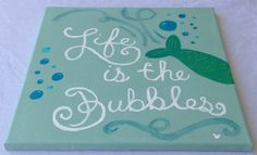 "Disney Little Mermaid Inspired ""Life if the Bubbles"" Handpainted Canvas on Etsy, $16.00"