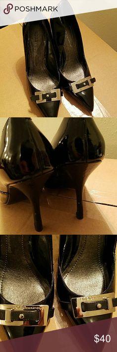 BCBGeneration Black, Buckled, Patent Leather Pumps BCBGeneration Shoes Heels