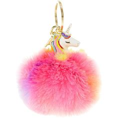 Rainbow Unicorn Pom Key Chain ❤ liked on Polyvore featuring accessories, fob key chain, pink key chains and pom pom key chain