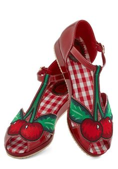 It's a Fruit Point Wedge by Miss L Fire - Red, Green, Daytime Party, Fruits, T-Strap, Low, Woven, Novelty Print, Rockabilly