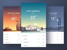 New inspiring collection of designs, this time in UI design perspective: check the variety of interface concepts for weather applications. Web Design, Layout Design, Design Social, Design Food, Flat Design, Design Trends, Android Ui, Design Android, Wireframe Mobile
