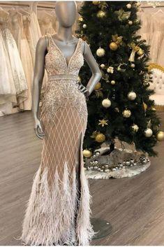 Fitted Prom Dresses, Jovani Dresses, Ivory Dresses, Formal Dresses, Feather Prom Dress, Embellished Belt, Mesh Dress, Spring Collection, Plunging Neckline