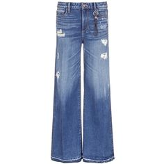 Tortoise 'Clemmys' distressed wide leg jeans ($465) ❤ liked on Polyvore featuring jeans, blue, distressing jeans, distressed jeans, torn jeans, saggy jeans and destroyed jeans