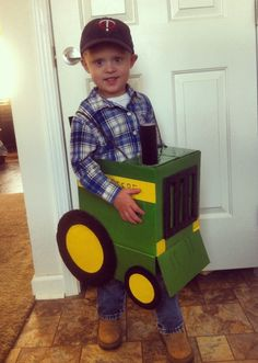 Homemade Halloween Costume except the tractor would be red!!!