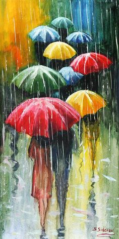"""Umbrellas -  """"GICLEE Print on CANVAS From Original Oil Painting UMBRELLAS Series Size 13inX26in From Sidorovart"""" - Yelena and Stanislav Sidorov (sidorovart)"""