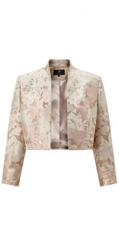 MIRABEL MOTHER OF THE BRIDE JACKET  The Mirabel jacket is a perfect match to the Ginger dress. It is made in the same beautiful pastel rose jacquard and is cut short at the waist to flatter the line of the dress. The jacket has 3/4 length sleeves and a soft pink satin lining.  £179.00