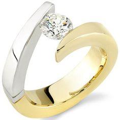 9f4c9ec09654 Preferred Jeweler-G. Pollack Sons - Gold Ladies Two Tone, Tension Set,  Brilliant Cut, H Color, Clarity Diamond Designer Engagement Ring Carat)