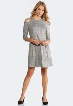 90d7049fd6c Cato Fashions Cold Shoulder Metallic Swing Dress  CatoFashions Swing Dress