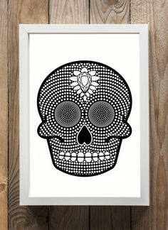 Damien Hirst Inspired Sugar Skull Black and by WallaceAtelier