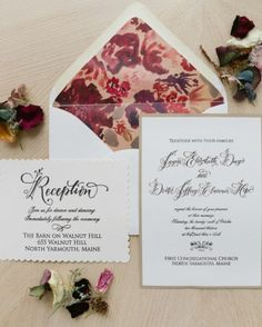 The bride and MOB designed their stationery elements, hand-stamping or handwriting every item in the suite. They mailed the invites with vintage stamps.
