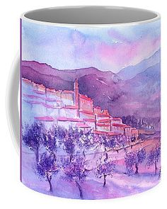 Gordes Provence France Coffee Mug by Sabina Von Arx Mugs For Sale, French Home Decor, Provence France, Unique Coffee Mugs, Pastel Colors, Watercolor Paintings, Tapestry, Artist, Gifts