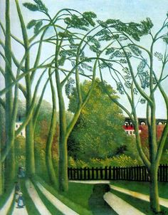 Spring in the Vallee de la Bievre (Landscape outskirts of Paris with Viaduct); 1908, Henri Russeau.
