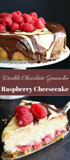 Double Chocolate Raspberry Cheesecake is made with fresh raspberries on the bottom and on top and coated with two types of chocolate ganache, white and milk chocolate. White chocolate, milk chocolate and raspberry cheesecake is pure heaven. Brownie Desserts, Fun Desserts, Dessert Recipes, Health Desserts, Dessert Ideas, White Chocolate Raspberry Cheesecake, White Chocolate Ganache, Vegan Chocolate, Snacks Sains