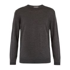 Kilgour Crew-neck merino-wool sweater ($209) ❤ liked on Polyvore featuring men's fashion, men's clothing, men's sweaters, charcoal, mens crewneck sweaters, mens lightweight sweaters, mens slim fit sweaters, mens crew neck sweater and mens merino sweater