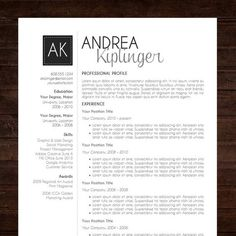 resume template cv template word for mac or pc professional cover letter creative modern black initials the andrea - Resume Template In Word