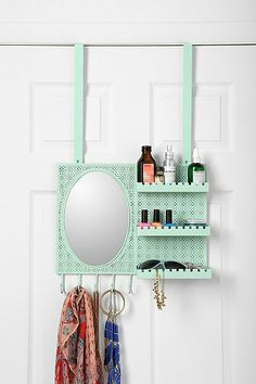 Over-the-Door Vanity Station - its like having a locker again! but such a cute locker...