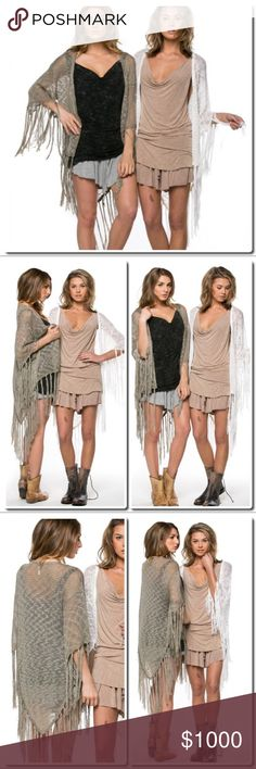 🎀COMING SOON Square neck crochet batwing cardigan Square neck crochet bat wing cardigan in Cream and Olive Sweaters