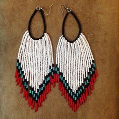 pin by on bead earrings beaded earrings Seed Bead Jewelry, Bead Jewellery, Seed Bead Earrings, Beaded Earrings Patterns, Seed Bead Patterns, Crochet Earrings, Brick Stitch Earrings, Native American Earrings, Bijoux Diy