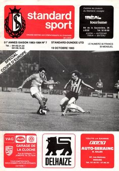 Standard Liege 0 Dundee Utd 0 in Oct 1983 in Belgium. Programme cover for the UEFA Cup Quarter Final, 1st Leg tie.