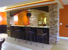 How to build a home bar counter. There is a basic and simple way to build a multipurpose bar for your home. You can add a bar to an existing wall or Rustic Basement Bar, Basement Bar Plans, Basement Bar Designs, Basement Remodel Diy, Home Bar Designs, Modern Basement, Basement Kitchen, Basement Remodeling, Basement Walls