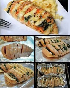 Hasselback Chicken ~ Cajun with Pepper Jack & Spinach Ingredients: 2 boneless, skinless chicken breast halves, about 1 lb 4 oz pepper jack cheese,. I Love Food, Good Food, Yummy Food, Hasselback Chicken, Breaded Chicken, Roasted Chicken, Fried Chicken, Cooking Recipes, Healthy Recipes