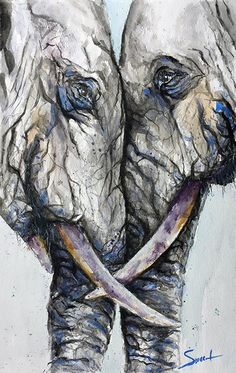 Shed some light on your home and spirit with this abstract elephant artwork of two elephants reunited. Such enormous and soulful creatures, you cant