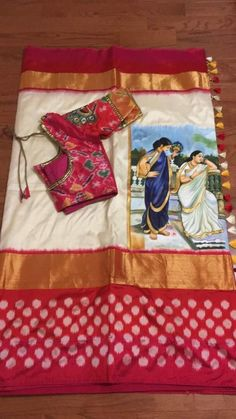 These painted ikat silk sarees are from Trendy Traditionals, Chennai. For order and price enquiries of the painted ikat silk sarees please contact below address. Saree Blouse Neck Designs, Fancy Blouse Designs, Pure Silk Sarees, Cotton Saree, Ikkat Silk Sarees, Saree Painting Designs, Floral Print Sarees, Sari Design, Elegant Saree