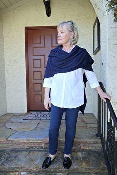 Jennifer Connolly of A Well Styled Life wearing navy ruana and white shirt Velvet Leggings, Denim Leggings, Tops For Leggings, Slim Pants, Stretch Pants, Over 60 Fashion, Women's Fashion, Petite Fashion