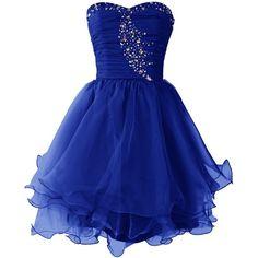 Dresstells Women's Short Prom Dresses Organza Homecoming Dress (€61) ❤ liked on Polyvore featuring dresses, short dresses, short cocktail dresses, cocktail prom dress, blue dress, short mini dress and blue mini dress