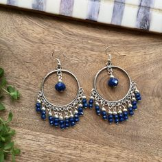 Navy crystals silver round earrings, Navy Long dangle earrings, Navy round earrings, shiny earrings, sparkling earrings, gift for her