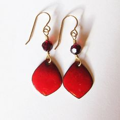 Holiday red enamel earrings Small wine burgundy by OxArtJewelry