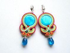 Blue Candy  soutache earrings by Bajobongo on Etsy