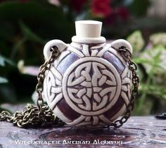 Old European Master Crafted Magical Arts™ Magical Jewelry, Bottle Necklace, Oil Bottle, Clay Beads, Celtic Knot, Alchemy, Knots, Artisan, Christmas Ornaments