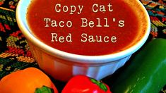 Copy Cat Taco Bell's Red Sauce One of my guilty pleasures is Taco Bell's Bean Burritos because they are cheap and tasty. And, one of my favorite parts of these burritos is the yummy re Taco Bell Red Sauce Recipe, Mexican Red Sauce Recipe, Taco Bell Recipes, Tostada Recipes, Recipes With Enchilada Sauce, Raw Food Recipes, Mexican Food Recipes, Taco Bell Taco Salad Recipe, Mexican Desserts