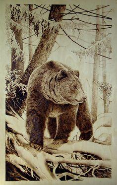 pyro-bear in woods=